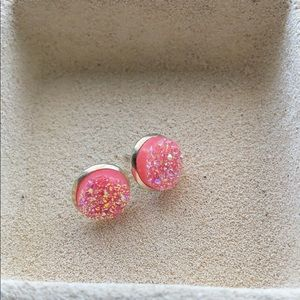 Pink & Silver (sparkling) button earrings